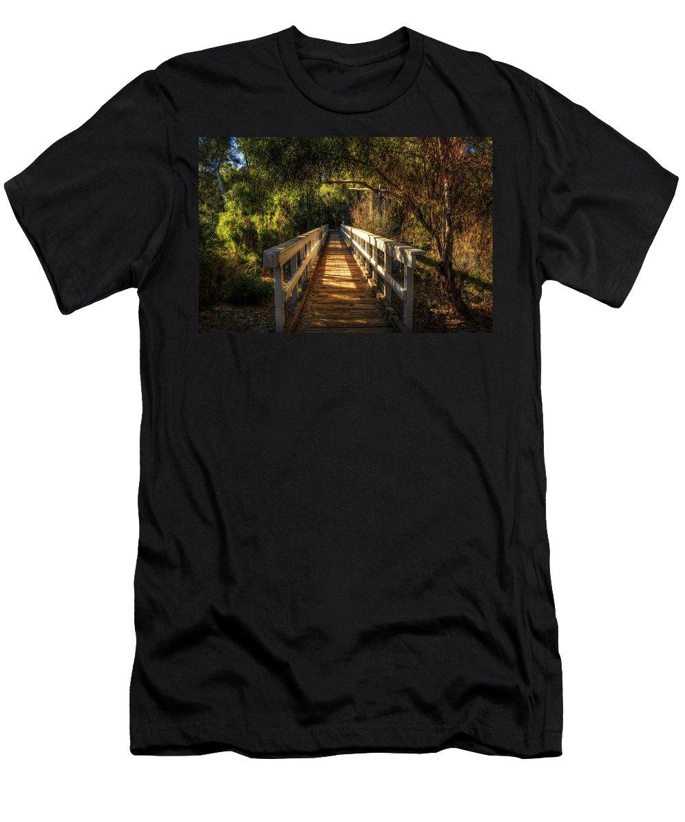 Little White Bridge Men's T-Shirt (Athletic Fit) featuring the photograph The Little White Bridge II by Saija Lehtonen