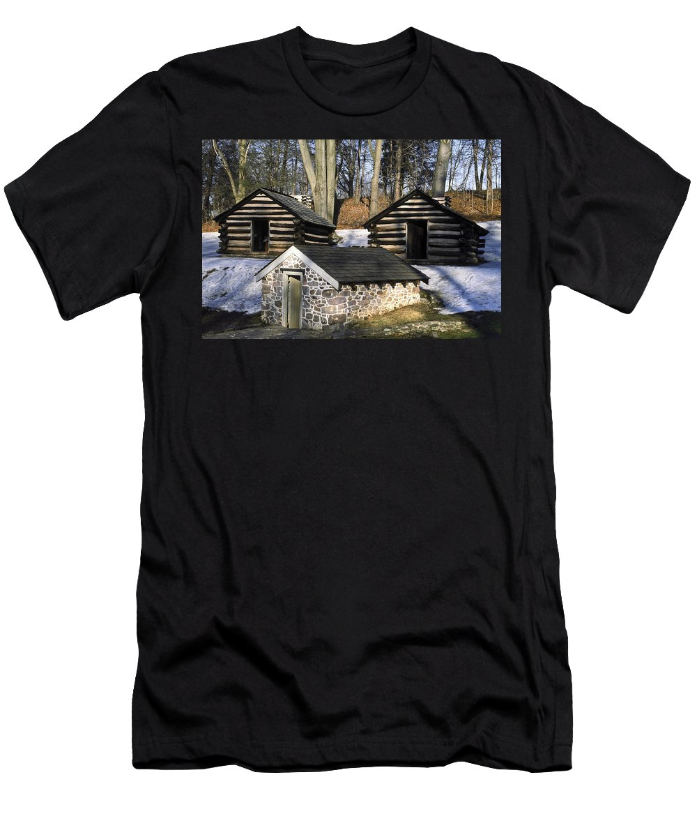 Revolutionary War Soldiers' Log Huts Men's T-Shirt (Athletic Fit) featuring the photograph Valley Forge Winter by Sally Weigand