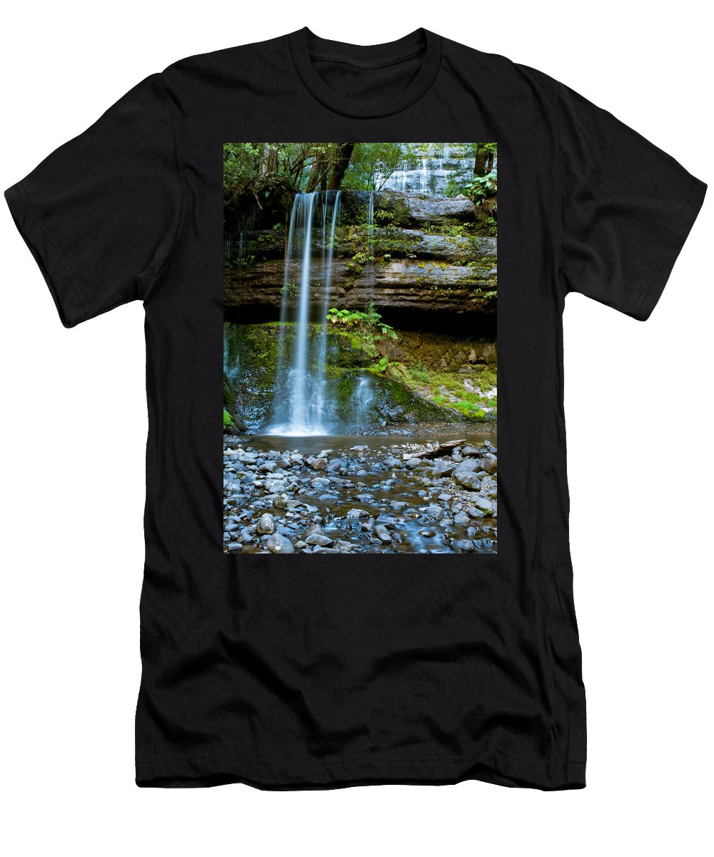 Adventure Men's T-Shirt (Athletic Fit) featuring the photograph Waterfall In Deep Forest by U Schade