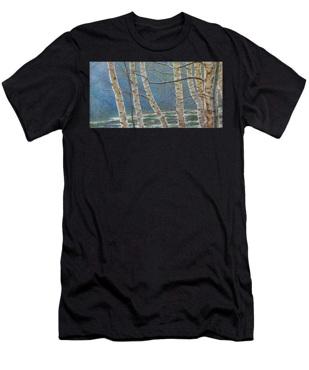 Birches Men's T-Shirt (Athletic Fit) featuring the painting Winter Is Over by Olena Lopatina