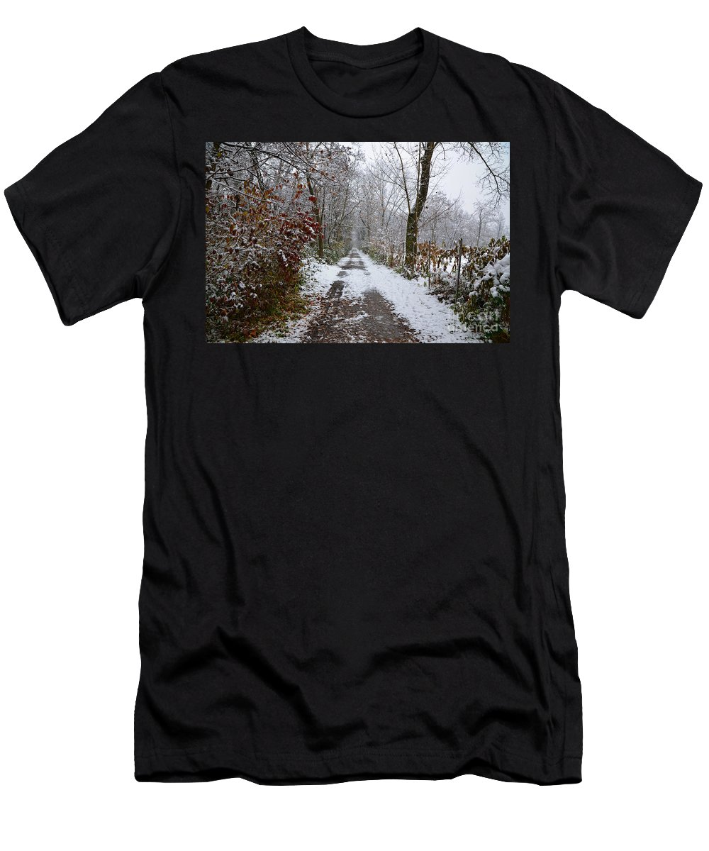 Road Men's T-Shirt (Athletic Fit) featuring the photograph Winter Road by Mats Silvan