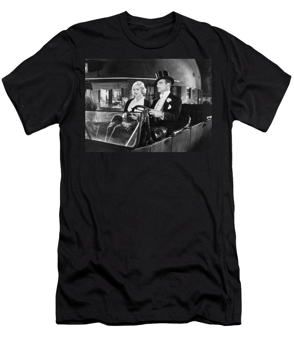 -transportation: Automobiles- Men's T-Shirt (Athletic Fit) featuring the photograph Silent Film: Automobiles by Granger