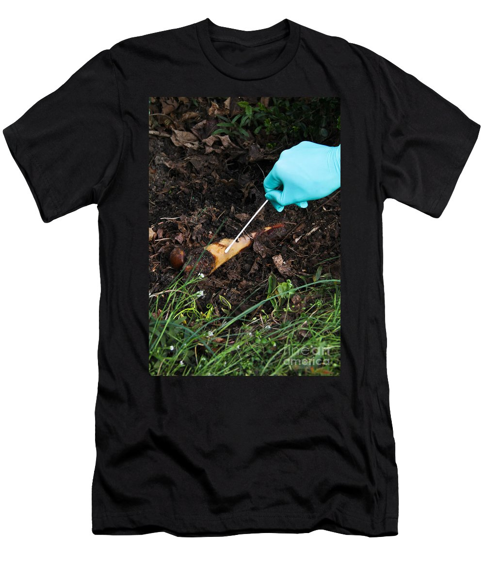 Analysis Men's T-Shirt (Athletic Fit) featuring the photograph Forensic Evidence by Photo Researchers, Inc.