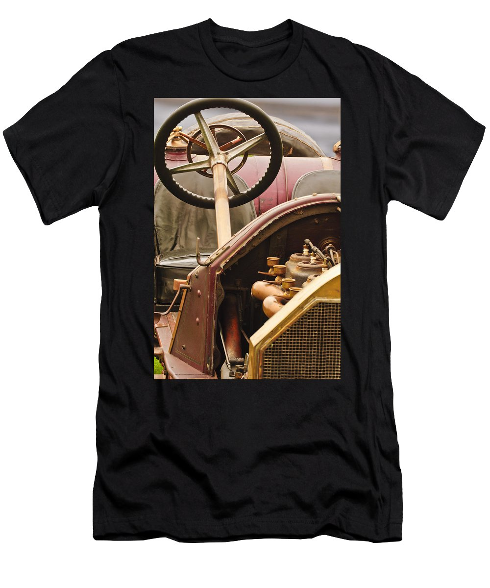 1914 Mercer Model 35 J Raceabout Men's T-Shirt (Athletic Fit) featuring the photograph 1914 Mercer Model 35 J Raceabout Engine And Steering Wheel by Jill Reger
