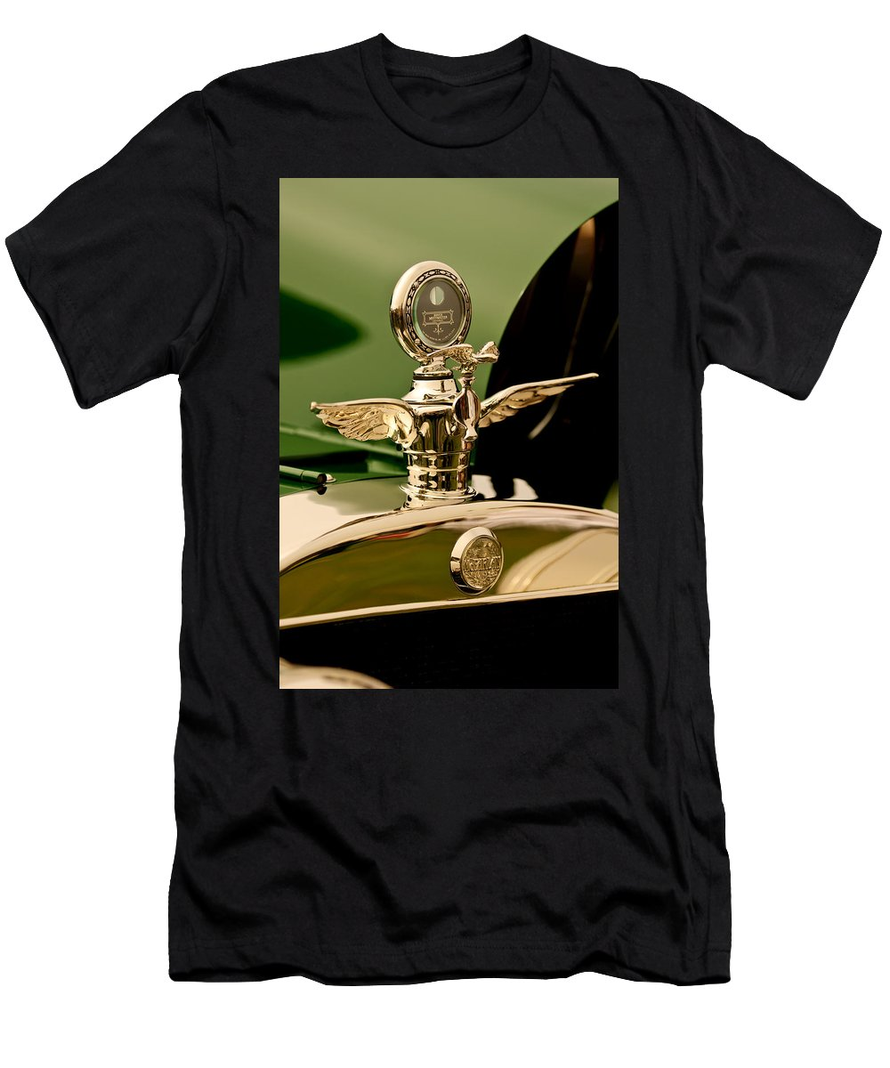 1919 Mcfarlan Type 125 Touring Men's T-Shirt (Athletic Fit) featuring the photograph 1919 Mcfarlan Type 125 Touring Motometer - Hood Ornament by Jill Reger