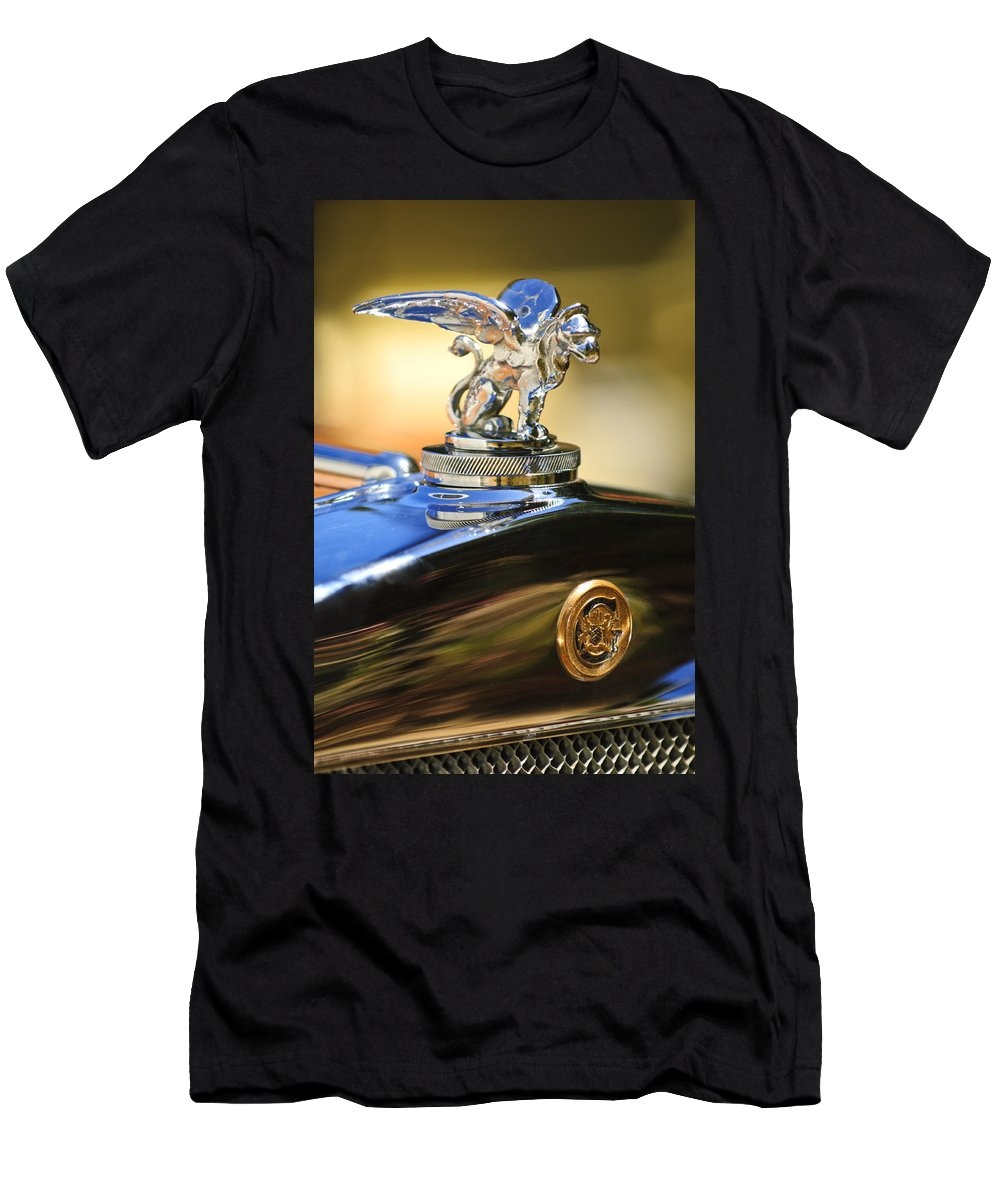 1929 Gardner Series 120 Eight-in-line Roadster Men's T-Shirt (Athletic Fit) featuring the photograph 1929 Gardner Series 120 Eight-in-line Roadster Hood Ornament by Jill Reger