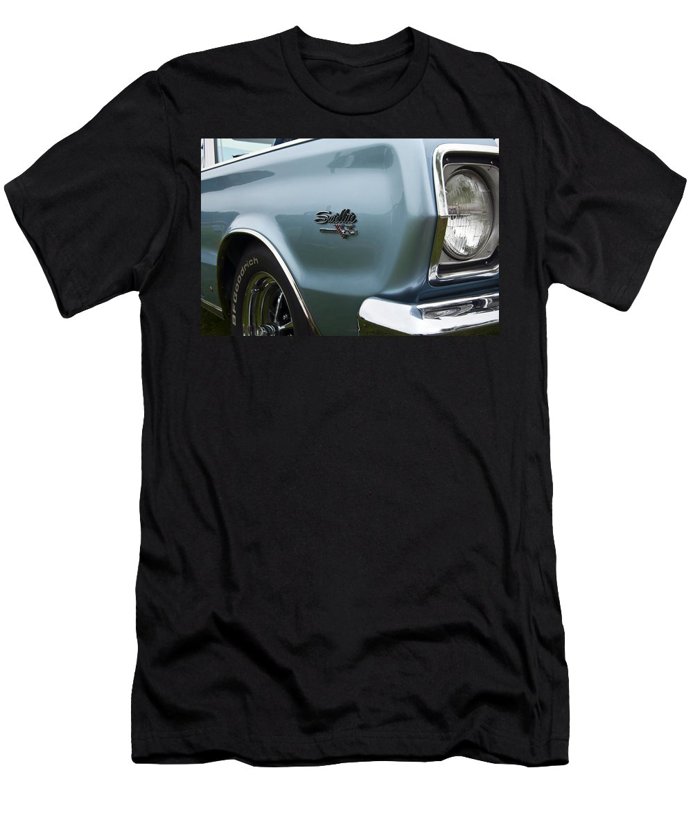 1966 Plymouth Satellite Commando V8 Men's T-Shirt (Athletic Fit) featuring the photograph 1966 Plymouth Satellite Commando V8 by Glenn Gordon