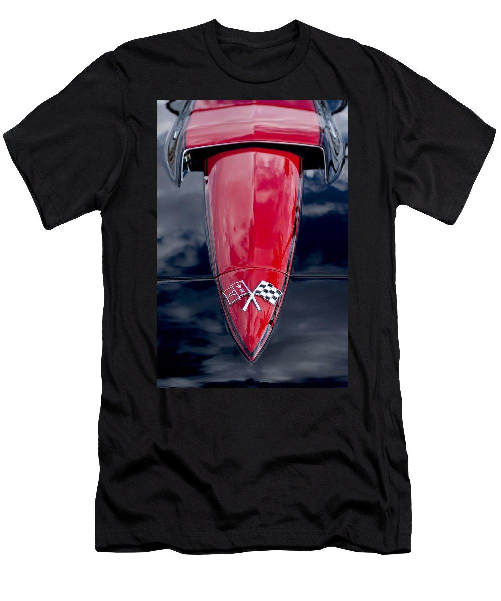 1967 Chevrolet Corvette Men's T-Shirt (Athletic Fit) featuring the photograph 1967 Chevrolet Corvette Hood Emblem 5 by Jill Reger