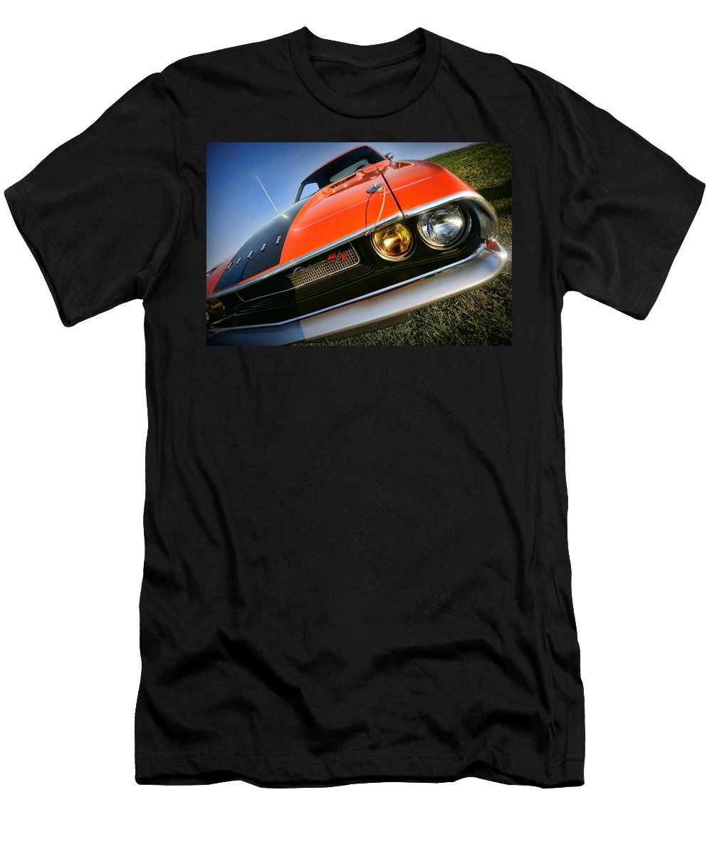 1970 Men's T-Shirt (Athletic Fit) featuring the photograph 1970 Dodge Challenger Rt Hemi Orange by Gordon Dean II