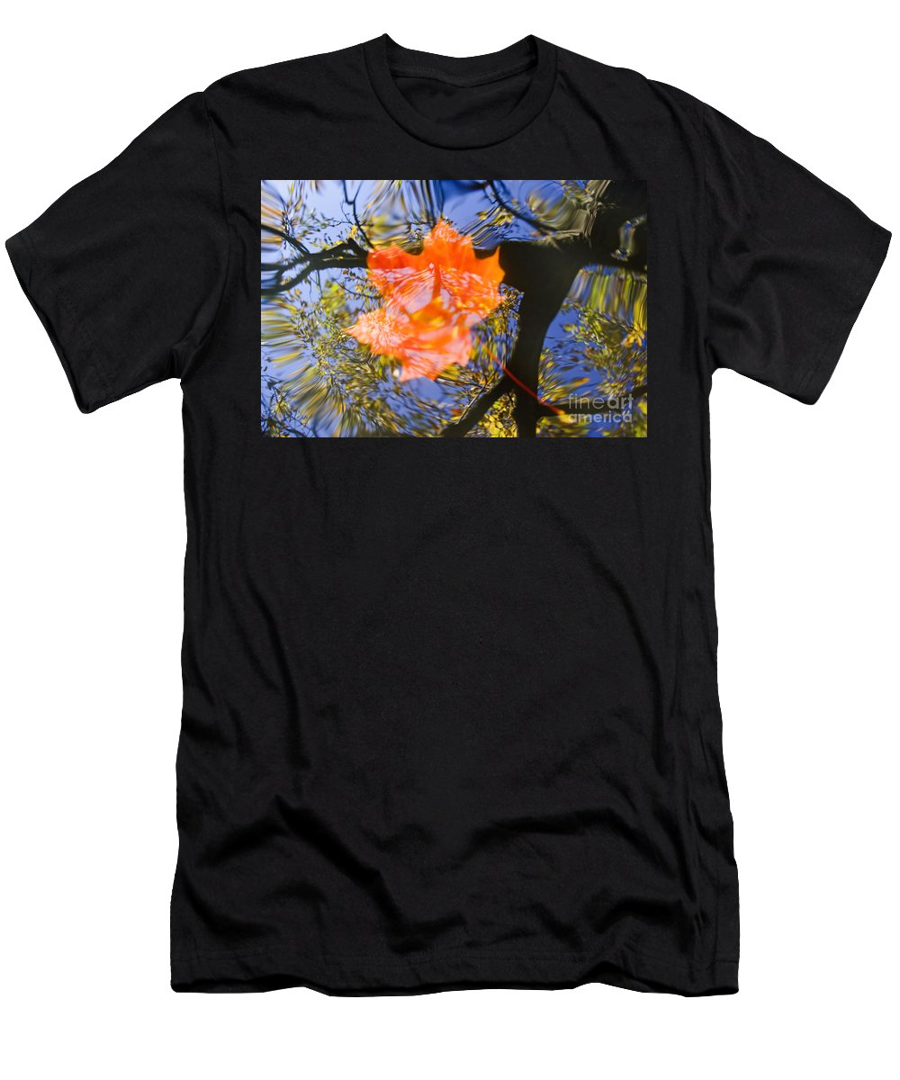 Leaf Men's T-Shirt (Athletic Fit) featuring the photograph Autumn Leaf On The Water by Michal Boubin