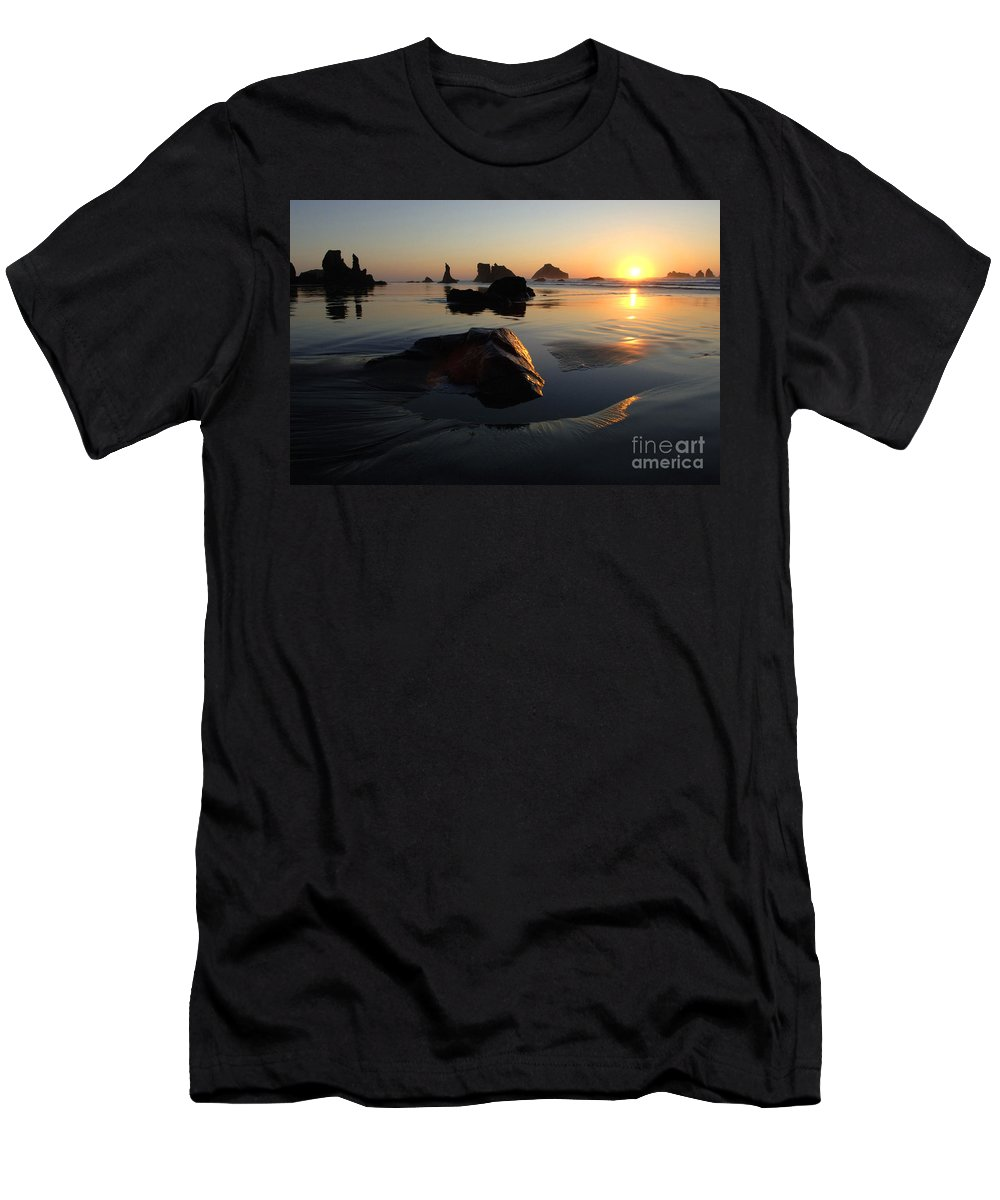 Bandon Beach Men's T-Shirt (Athletic Fit) featuring the photograph Bandon Beach Sunset by Bob Christopher