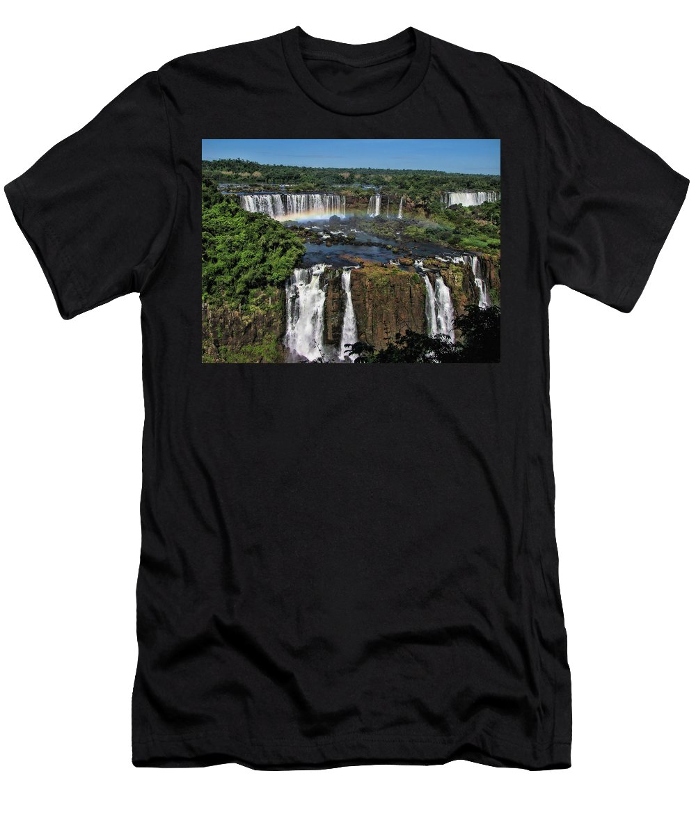 Iguazu Falls Men's T-Shirt (Athletic Fit) featuring the photograph Iguazu Falls by David Gleeson