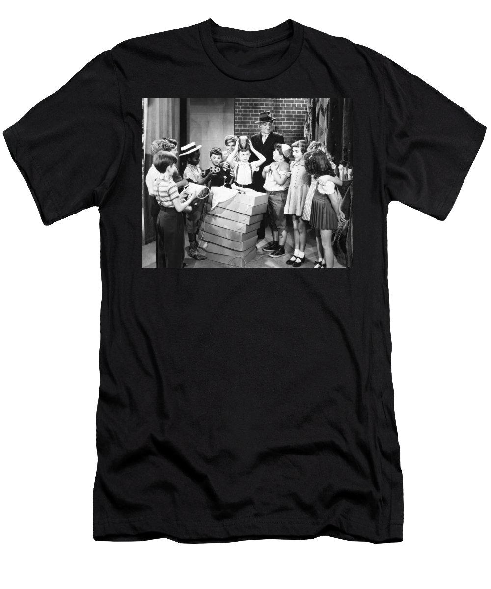 -children- Men's T-Shirt (Athletic Fit) featuring the photograph Silent Film: Little Rascals by Granger