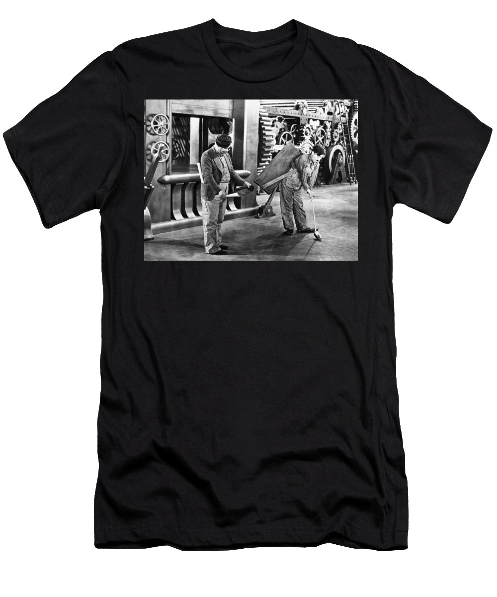 -nec04- Men's T-Shirt (Athletic Fit) featuring the photograph Chaplin: Modern Times, 1936 by Granger