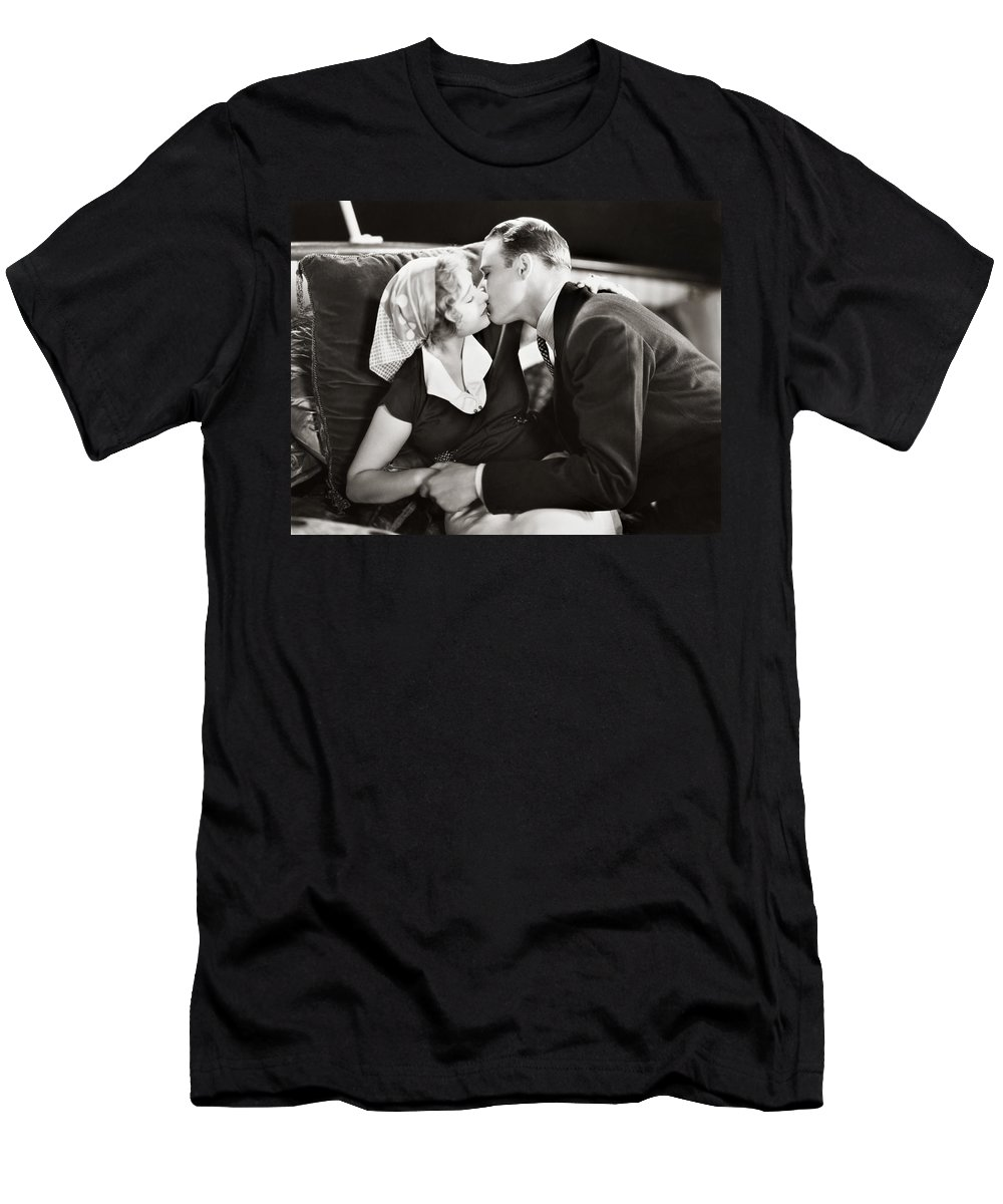 -kissing- Men's T-Shirt (Athletic Fit) featuring the photograph Silent Film Still: Kissing by Granger