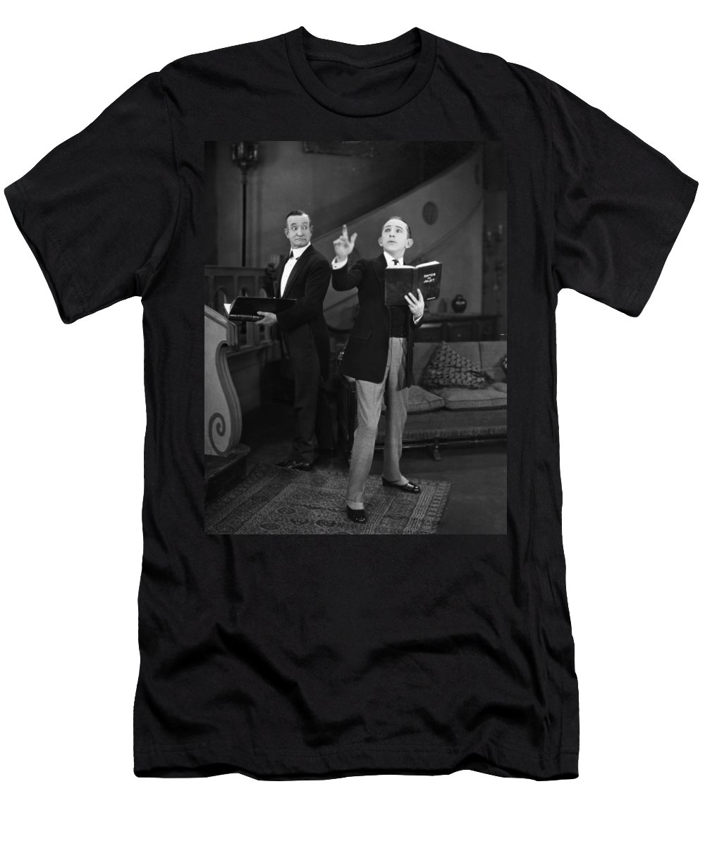 -ecq- Men's T-Shirt (Athletic Fit) featuring the photograph Silent Film Still: Reading by Granger