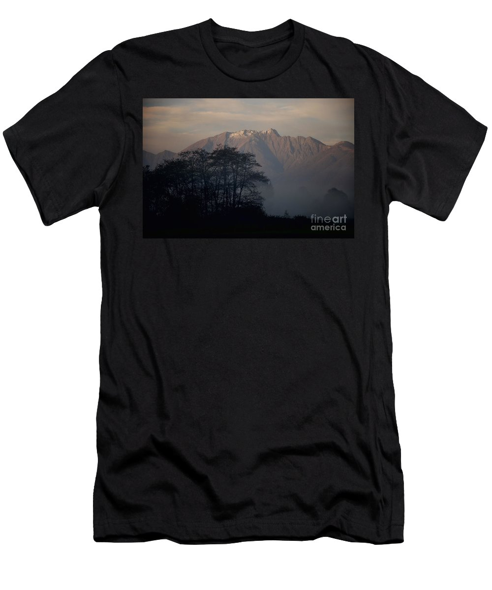 Trees Men's T-Shirt (Athletic Fit) featuring the photograph Snow-capped Mountain by Mats Silvan