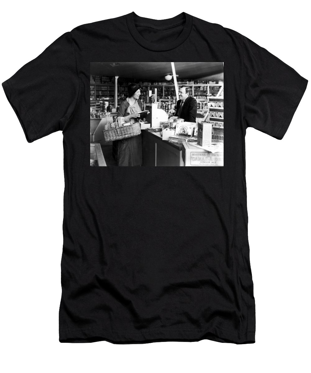 -stores- Men's T-Shirt (Athletic Fit) featuring the photograph Silent Film Still: Stores by Granger