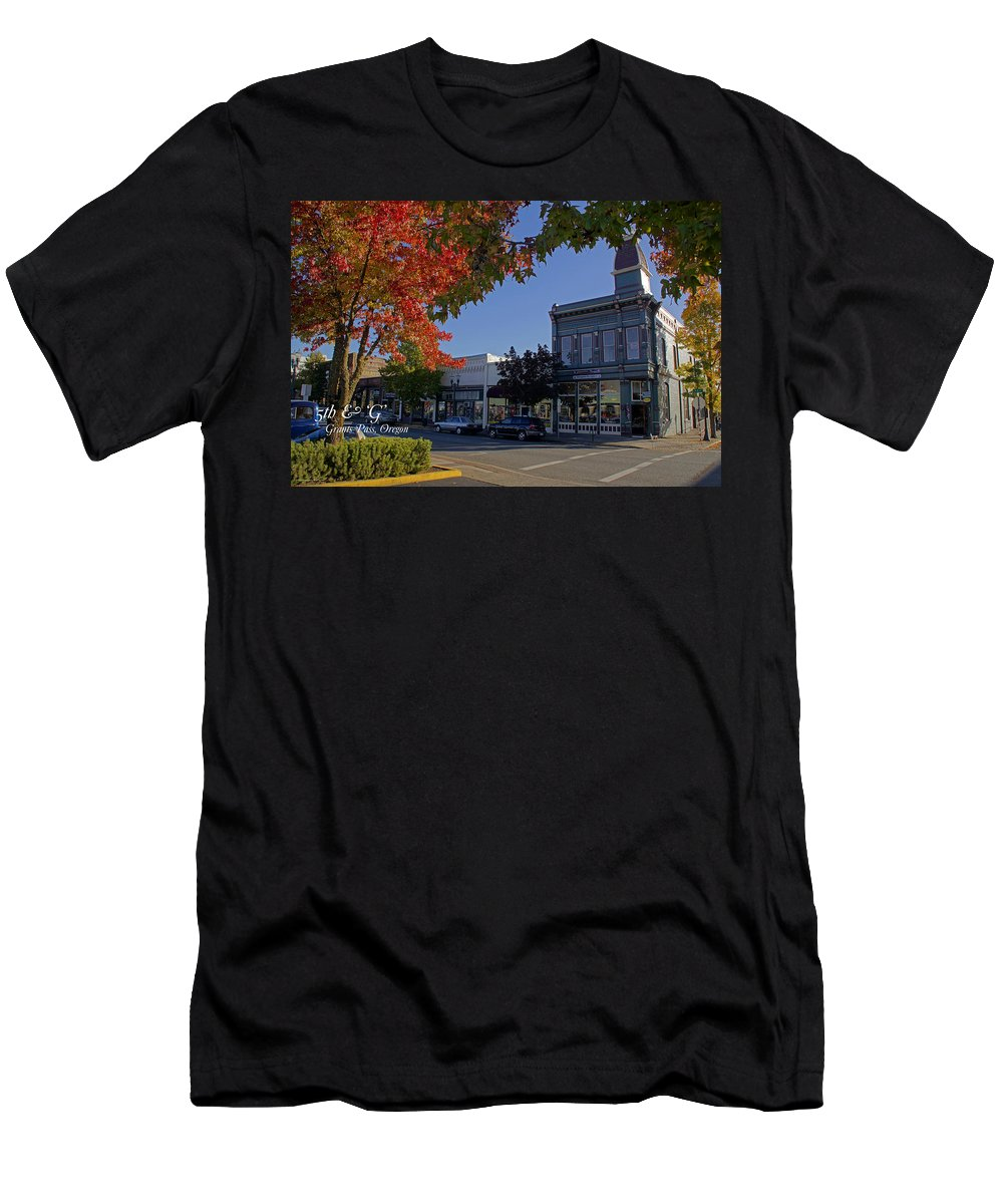 5th And G Men's T-Shirt (Athletic Fit) featuring the photograph 5th And G Street In Grants Pass With Text by Mick Anderson