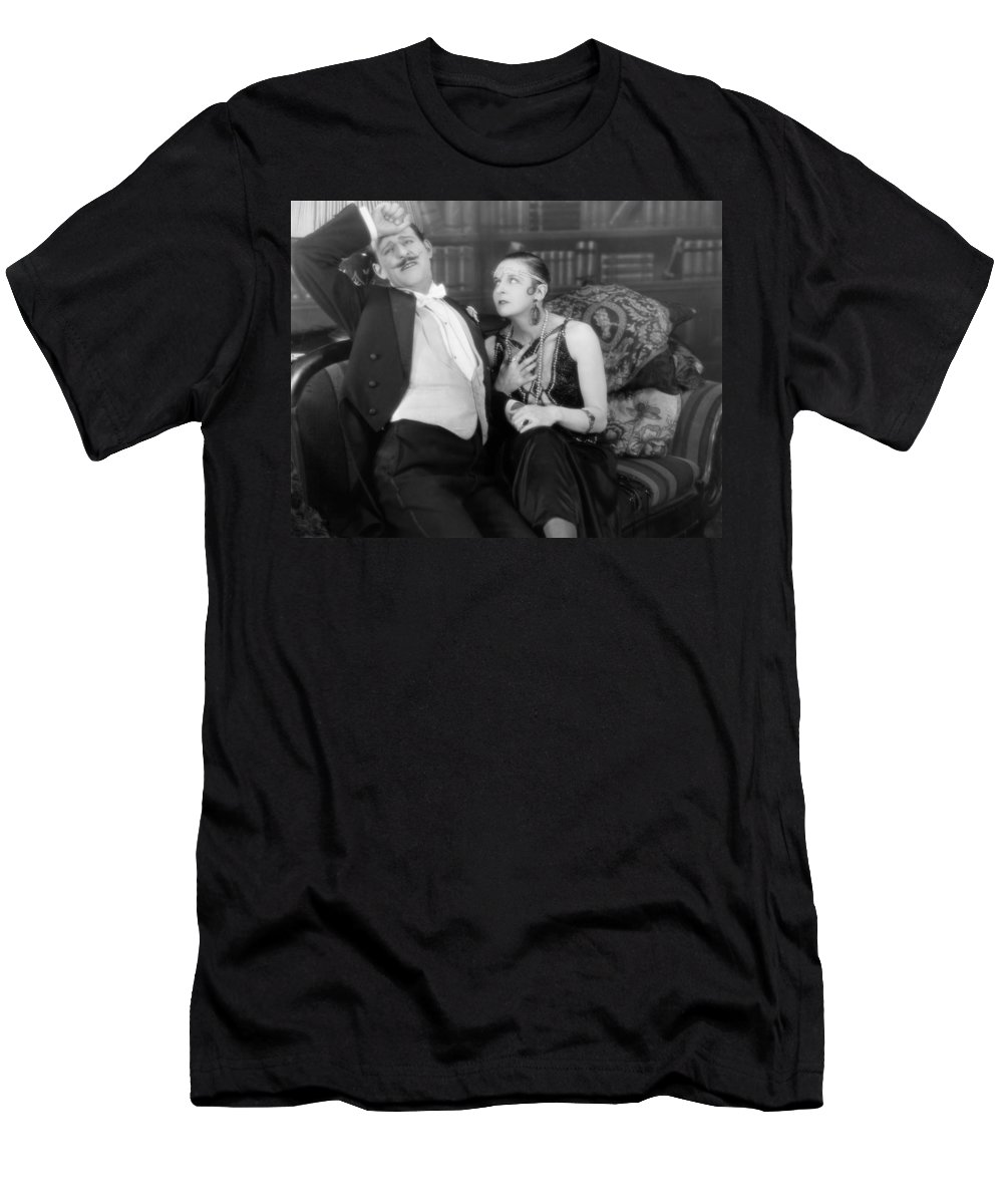 -couples- Men's T-Shirt (Athletic Fit) featuring the photograph Silent Film Still: Couples by Granger