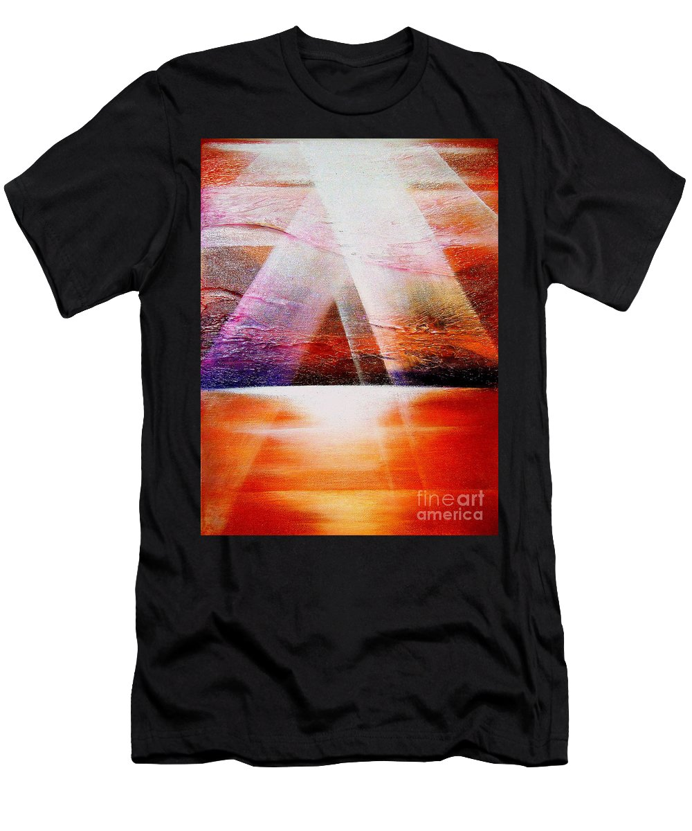 Sunrise.ocean.light.sunshine.landscape.healing.sea..brilliant.maiestic Men's T-Shirt (Athletic Fit) featuring the painting Hope by Kumiko Mayer