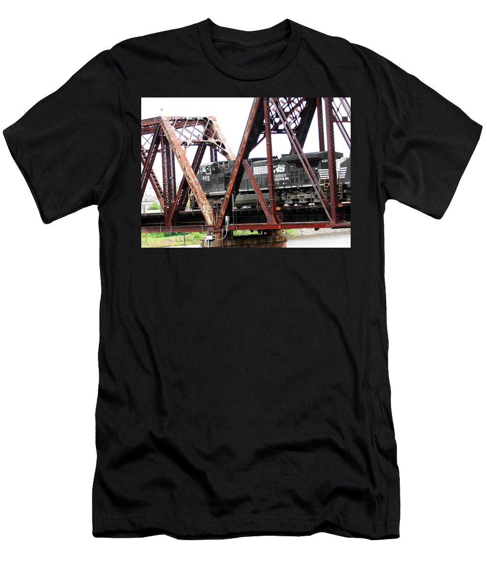 Train Photograph Men's T-Shirt (Athletic Fit) featuring the photograph 9215 Southern Cargo Train by Ester Rogers
