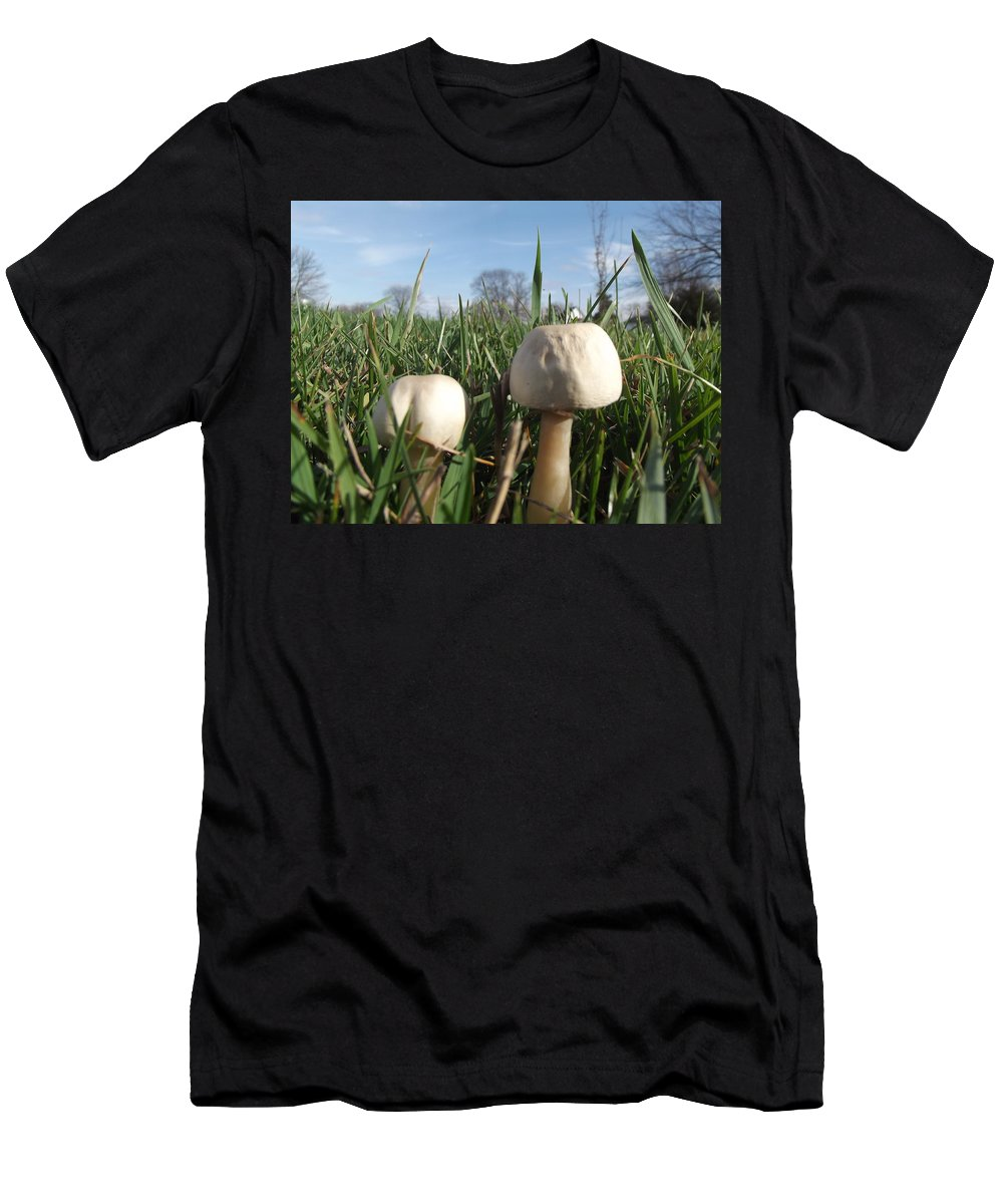 Mushrooms Men's T-Shirt (Athletic Fit) featuring the photograph A Bugs View by Bonfire Photography