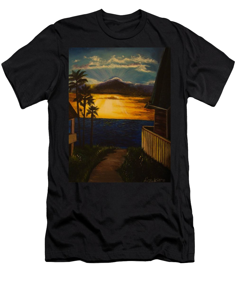 Sunset T-Shirt featuring the painting A Perfect Moment by Glory Fraulein Wolfe