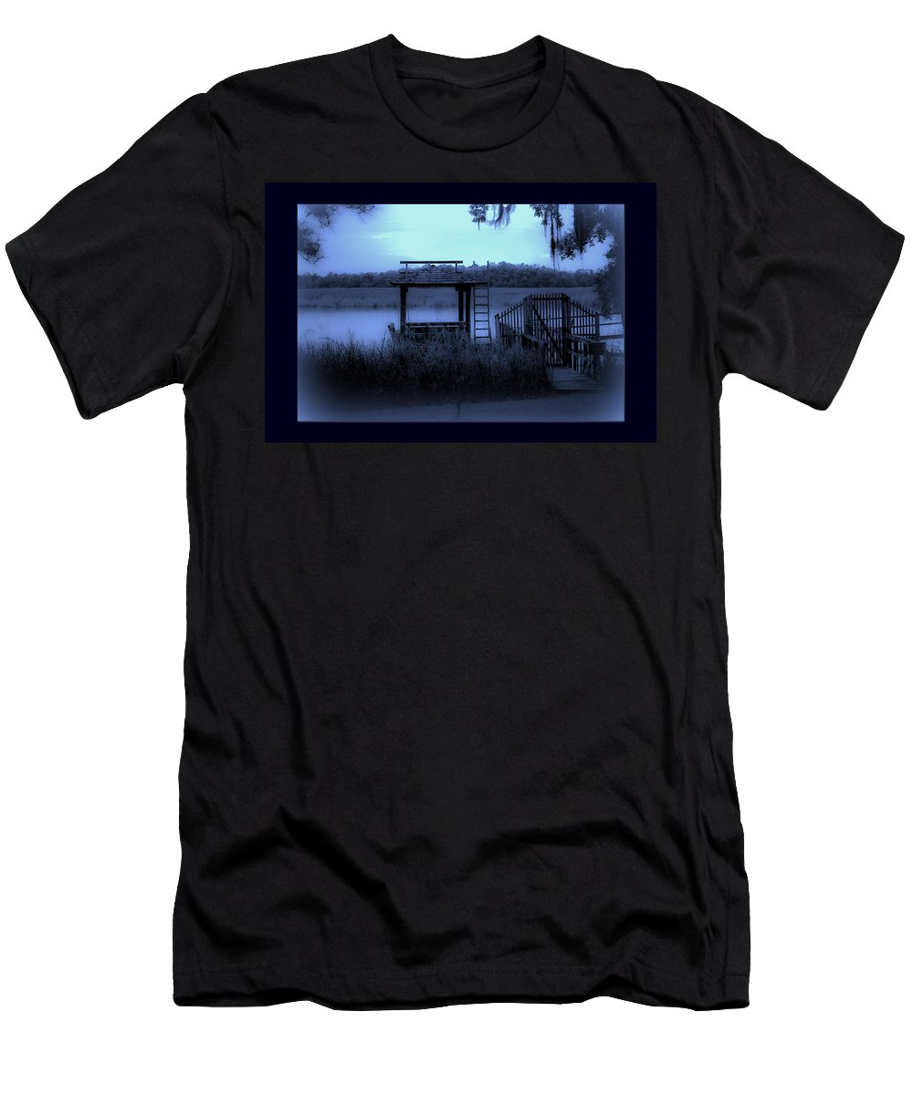 Dock Men's T-Shirt (Athletic Fit) featuring the photograph A Quiet Place By The Marsh by DigiArt Diaries by Vicky B Fuller