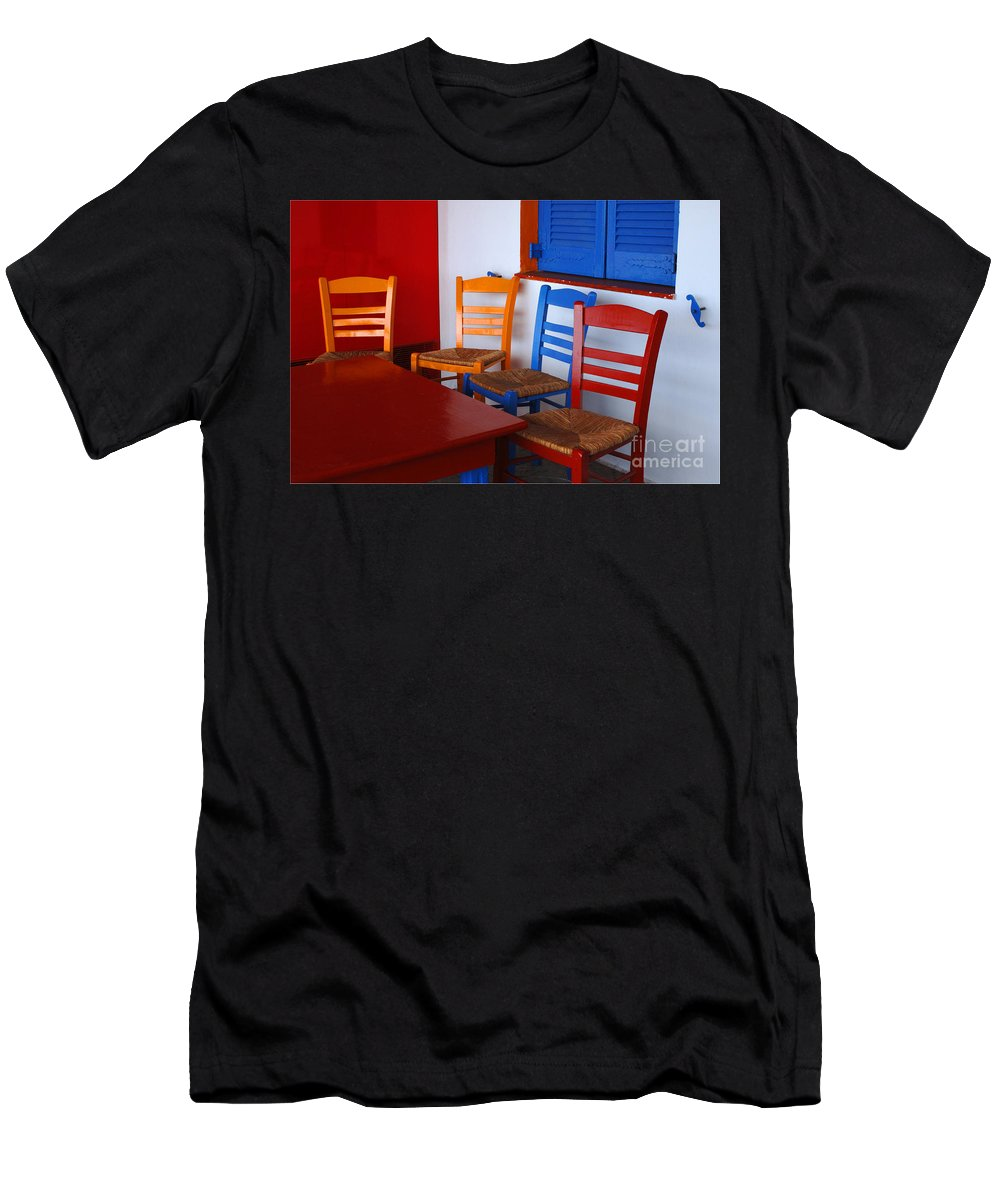 Greece Men's T-Shirt (Athletic Fit) featuring the photograph Colorful Table And Chairs Greece by Bob Christopher