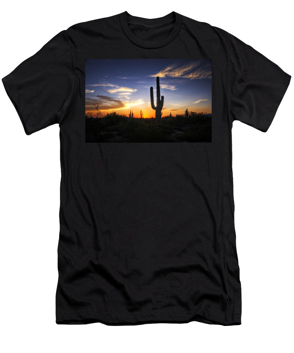 Sunset Men's T-Shirt (Athletic Fit) featuring the photograph A Sonoran Sunset by Saija Lehtonen