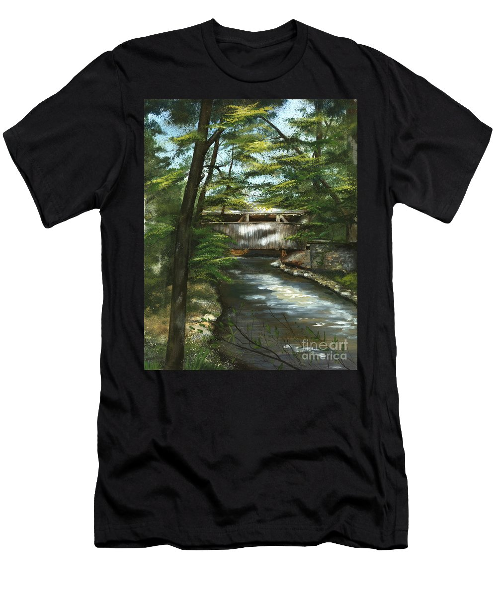 Covered Bridge Men's T-Shirt (Athletic Fit) featuring the painting A Summer Walk Along The Creek by Nancy Patterson
