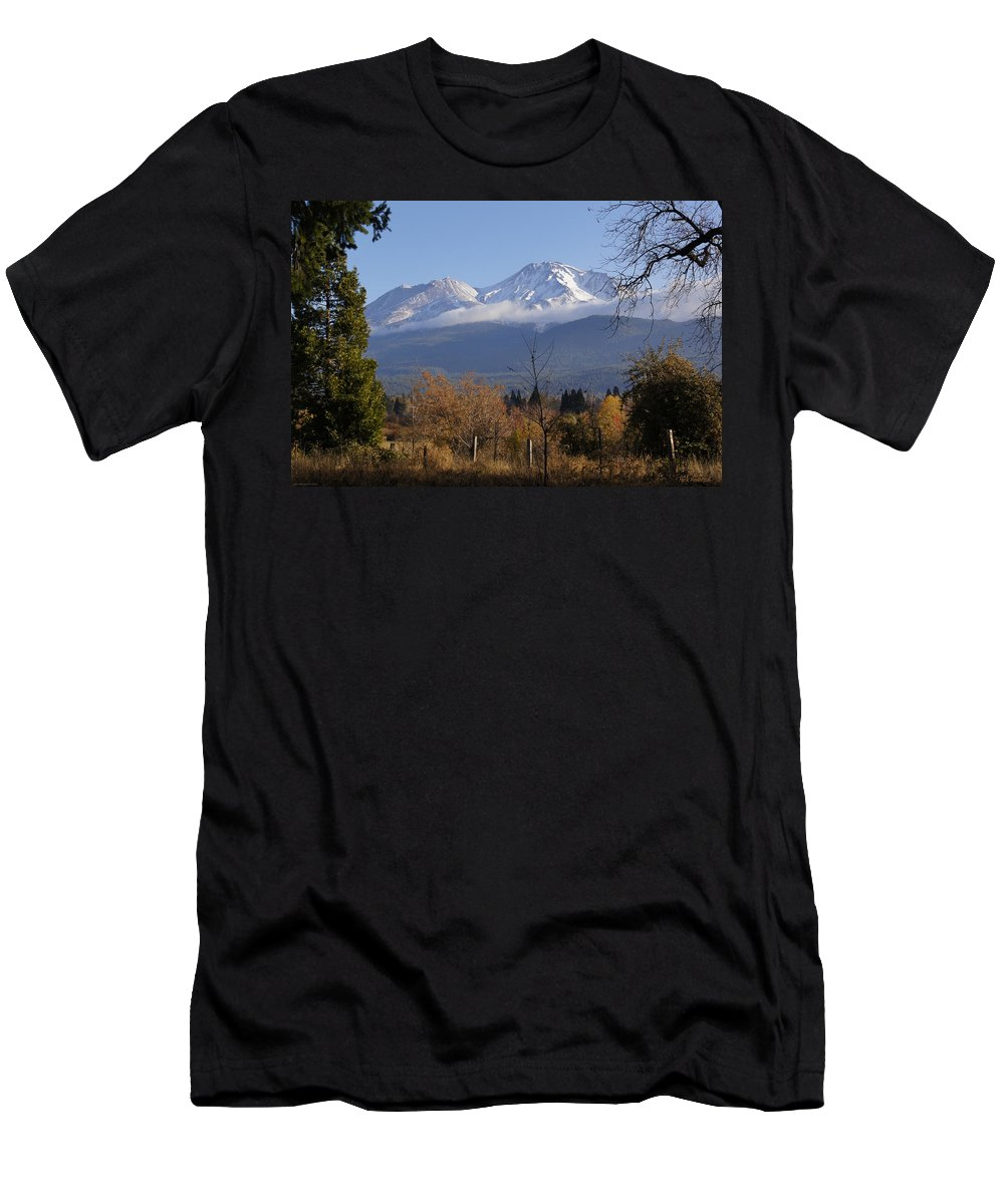 Road Men's T-Shirt (Athletic Fit) featuring the photograph A View Toward Mt Shasta In Autumn by Mick Anderson