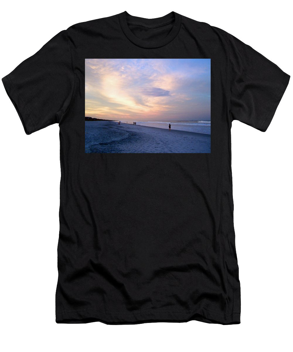 Sunset Men's T-Shirt (Athletic Fit) featuring the photograph A Walk On The Beach by Patricia Taylor