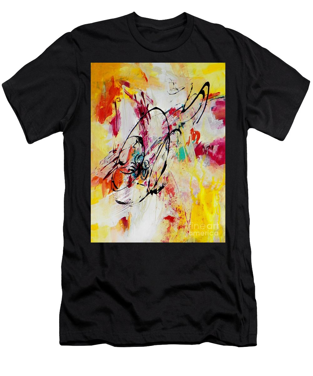 Abstract Expressionism Men's T-Shirt (Athletic Fit) featuring the painting Abstract #118 by Donna Frost