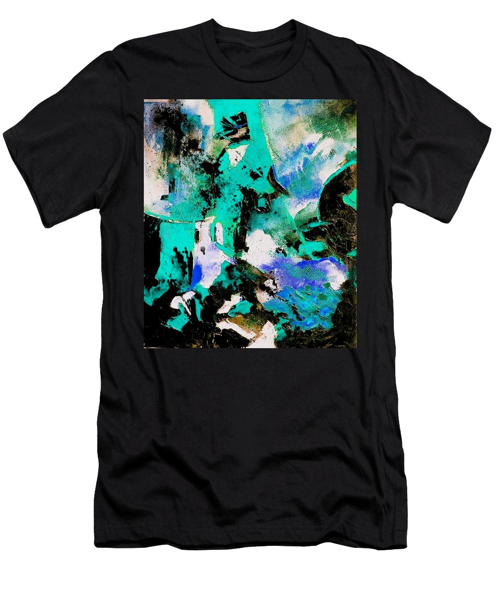 Abstract Men's T-Shirt (Athletic Fit) featuring the painting Abstract 690506 by Pol Ledent