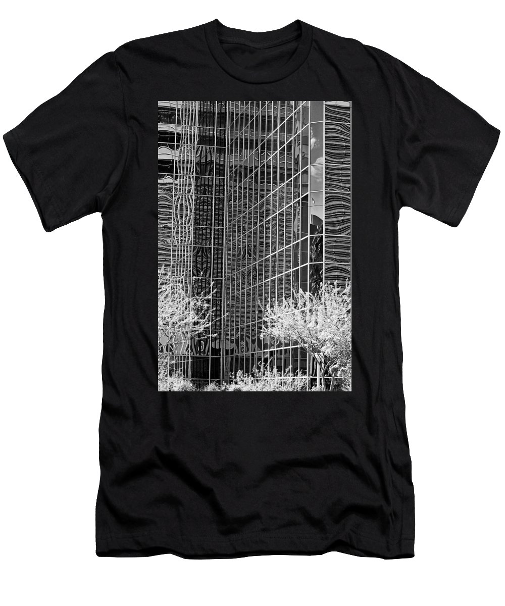 City Men's T-Shirt (Athletic Fit) featuring the photograph Abstract Walls Black And White by Phyllis Denton