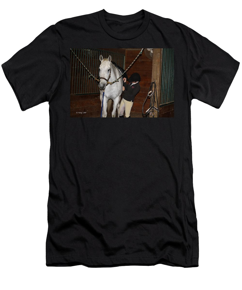 Roena King Men's T-Shirt (Athletic Fit) featuring the photograph Adjusting The Girth by Roena King