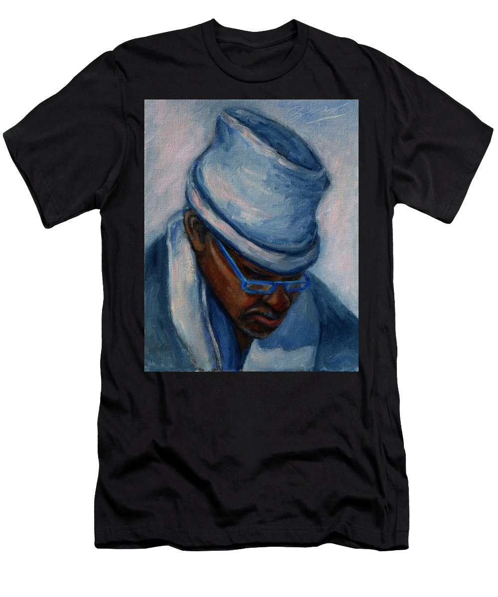African American Men's T-Shirt (Athletic Fit) featuring the painting African American 1 by Xueling Zou