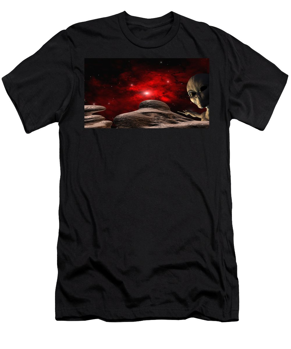 Space T-Shirt featuring the digital art Alien Planet by Robert aka Bobby Ray Howle