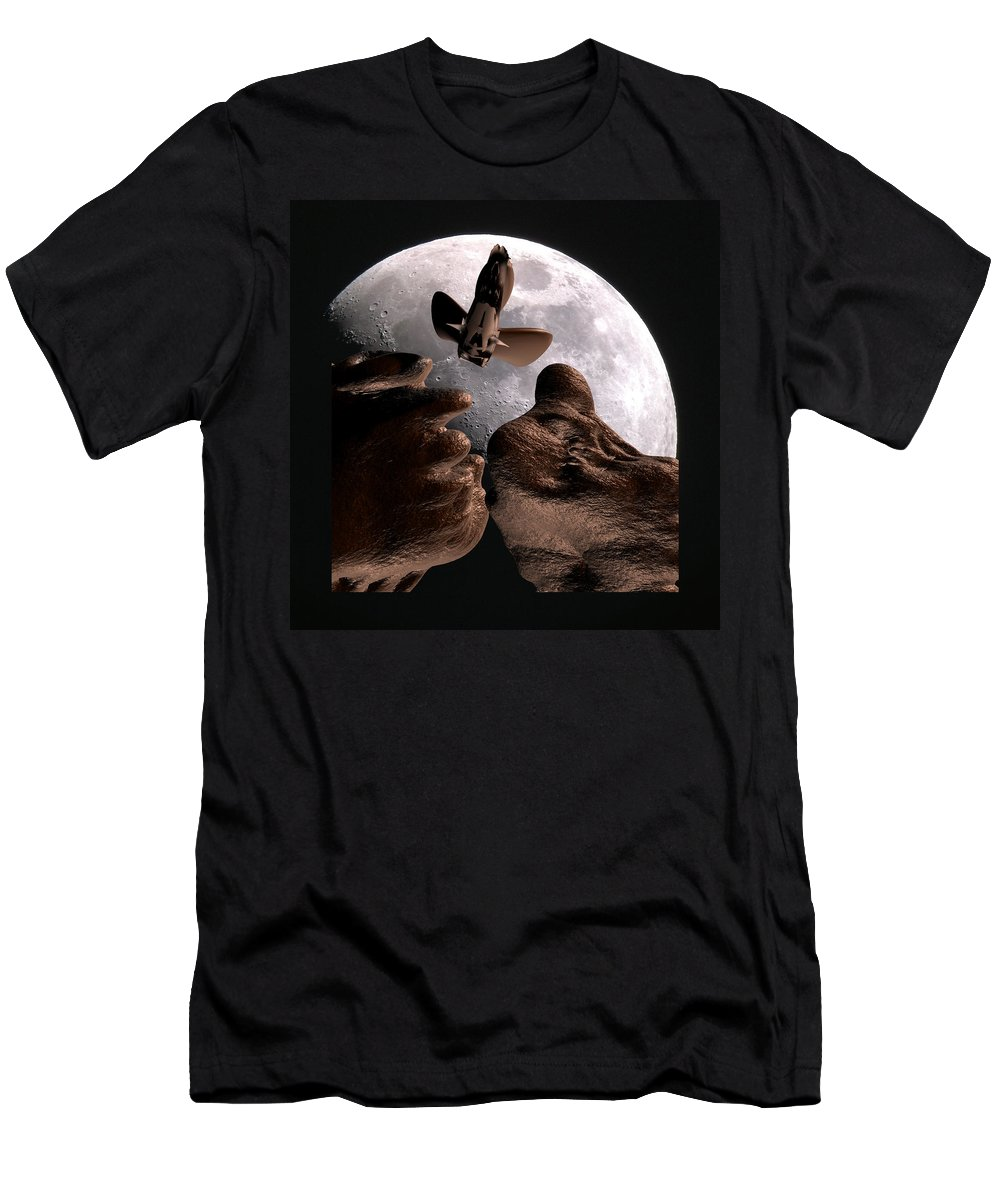 Space T-Shirt featuring the mixed media Alien view by Robert aka Bobby Ray Howle