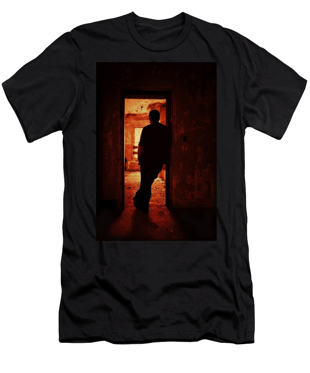 Male Men's T-Shirt (Athletic Fit) featuring the photograph Alone In The Endzone by Evelina Kremsdorf