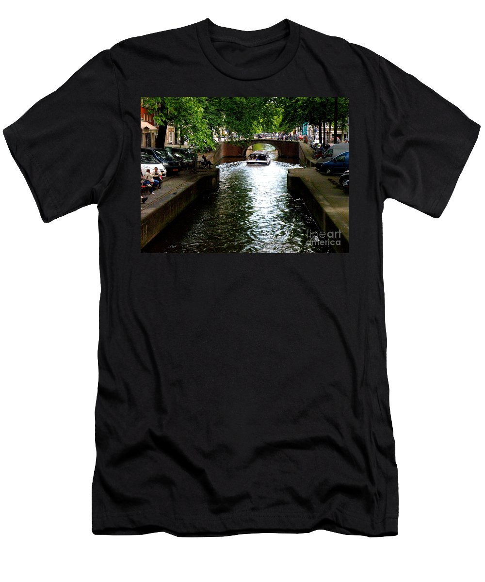 Canal Men's T-Shirt (Athletic Fit) featuring the photograph Amsterdam By Boat by Lainie Wrightson