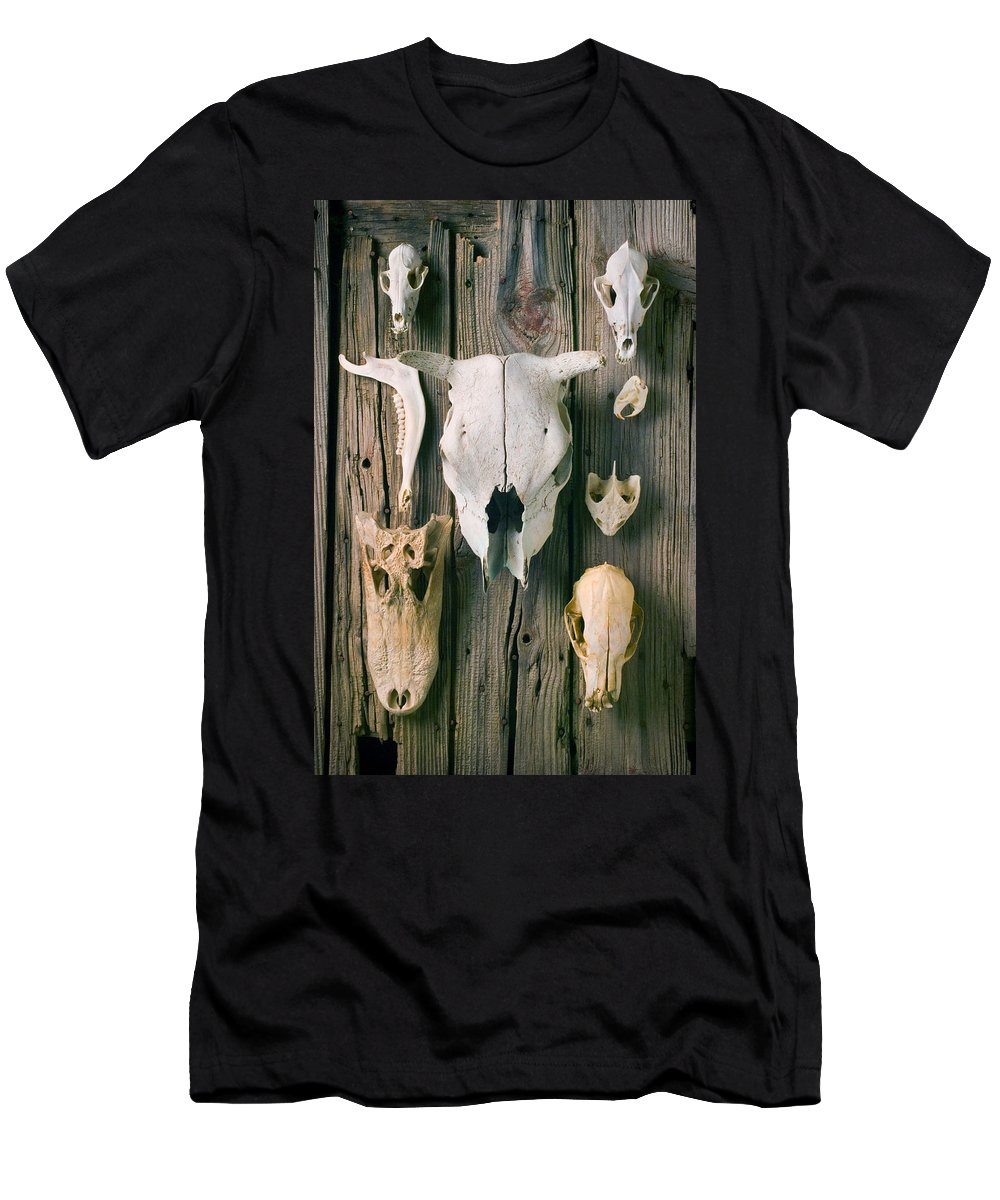 Skull Men's T-Shirt (Athletic Fit) featuring the photograph Animal Skulls by Garry Gay