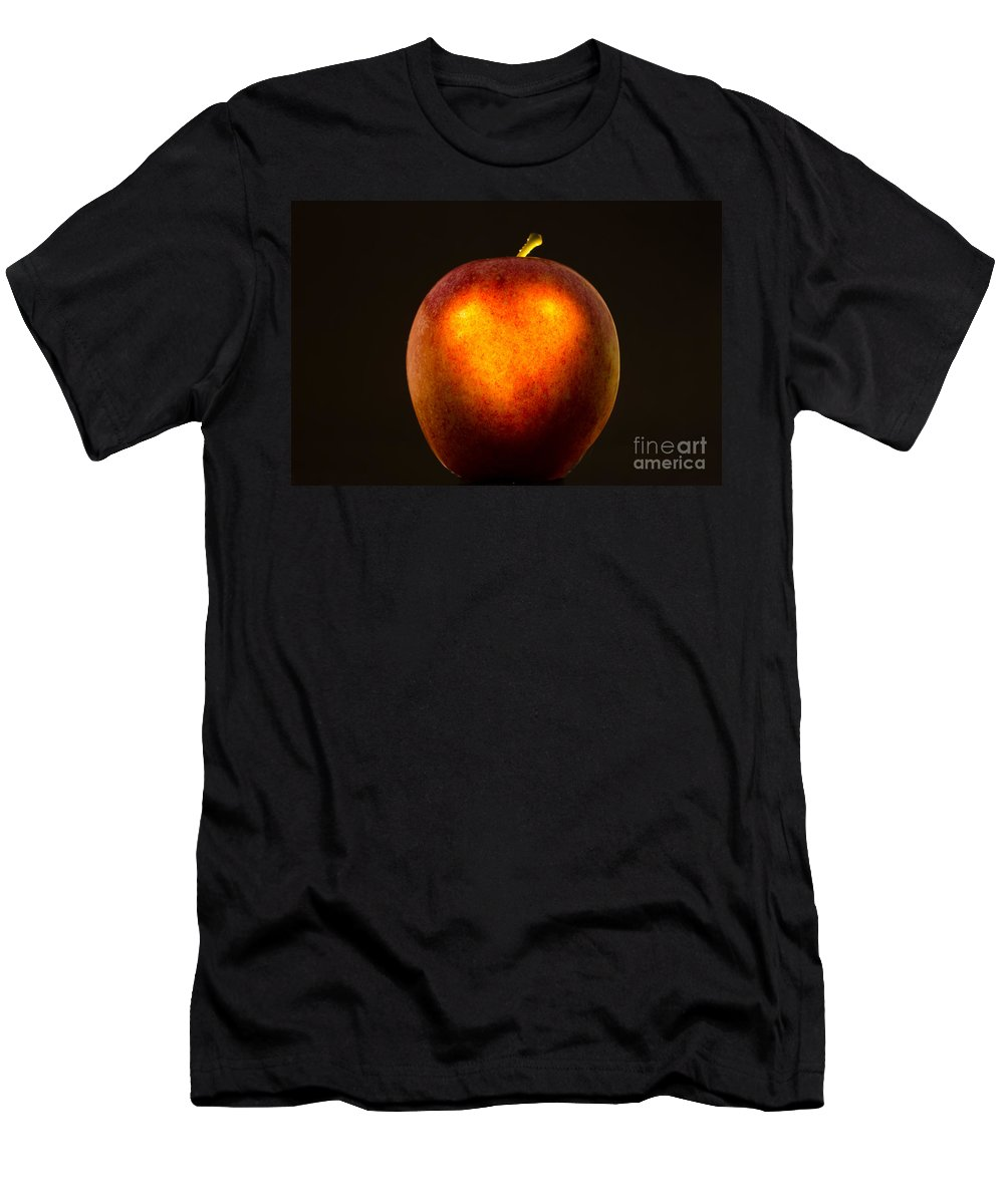 Apple Men's T-Shirt (Athletic Fit) featuring the photograph Apple With A Illuminated Heart by Mats Silvan
