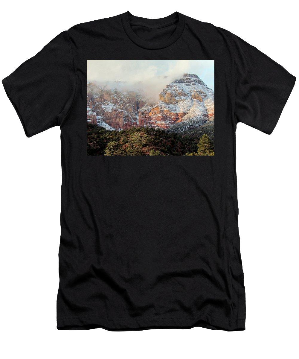 Arizona Men's T-Shirt (Athletic Fit) featuring the photograph Arizona Snowstorm by Judy Wanamaker