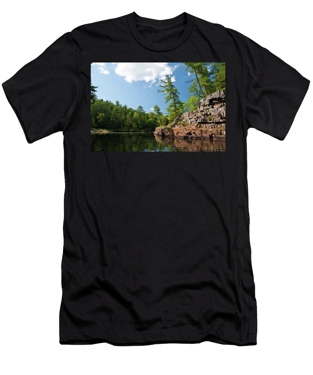 Landscape Men's T-Shirt (Athletic Fit) featuring the photograph Ausable Chasm 1618 by Guy Whiteley