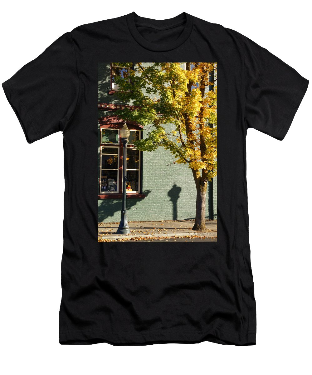 Grants Pass Men's T-Shirt (Athletic Fit) featuring the photograph Autumn Detail In Old Town Grants Pass by Mick Anderson