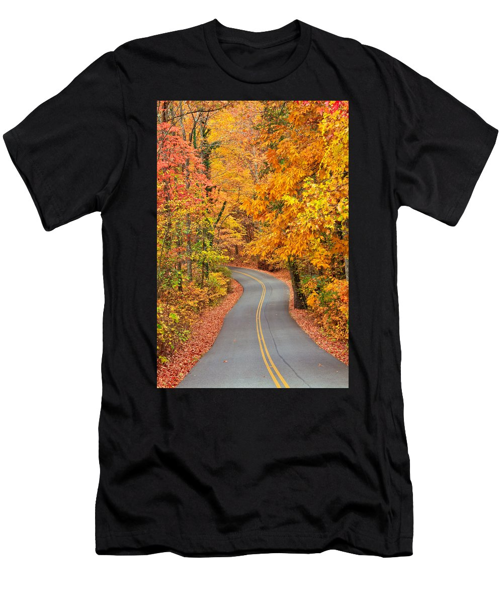 Fall Men's T-Shirt (Athletic Fit) featuring the photograph Autumn Drive Signal Mountain by Tom and Pat Cory