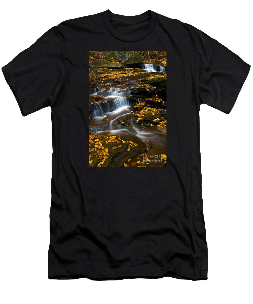 Ricketts Glen Men's T-Shirt (Athletic Fit) featuring the photograph Autumn Falls - 72 by Paul W Faust - Impressions of Light